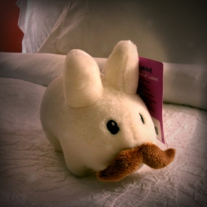 Plush bunny with moustache